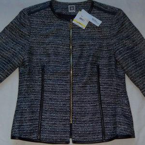 New Womens Anne Klein Metallic Blazer Jacket M
